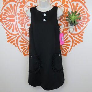 Betsy Johnson Black Neoprene A-Line Dress 8